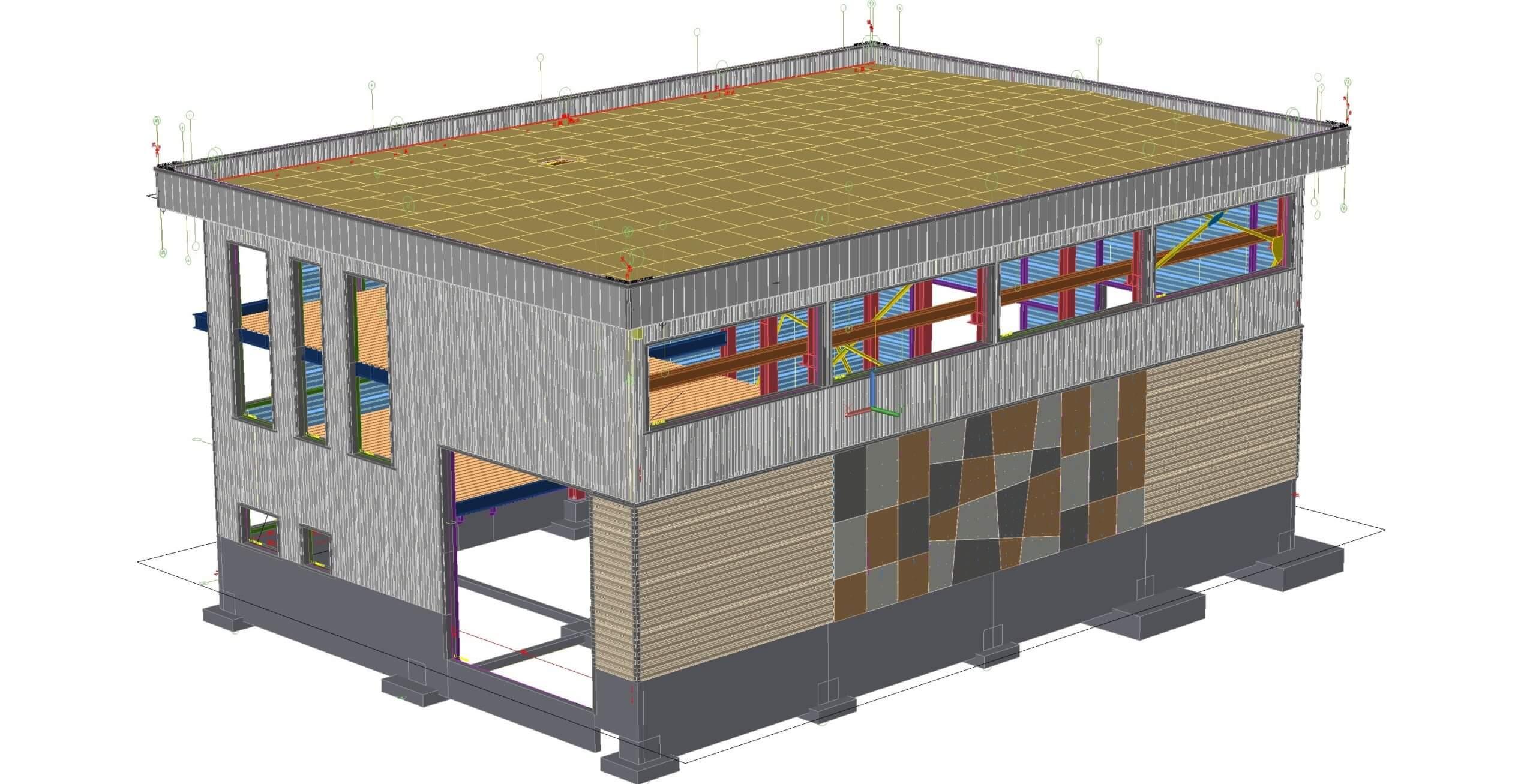 Modélisation 3D d'un bâtiment avec du bardage métallique horizontal et vertical plus du bardage panneau